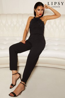 6dbd466fc6c8 Lipsy Halter Neck Lace Top Jumpsuit