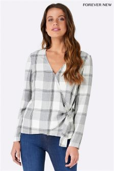 Forever New Wrap Tie Check Blouse