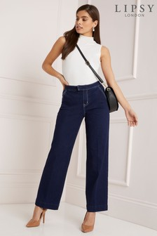 Lipsy Taylor High Rise Wide Leg Tailored Regular Length Jeans