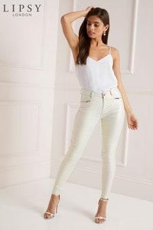 Lipsy Kate Beschichtete Skinny-Jeans in regulärer Länge mit mittelhohem Bund
