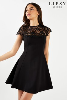 b9beb336e4 Lipsy Lace Top Skater Dress