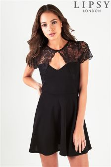 Lipsy Sweetheart Lace Insert Skater Dress