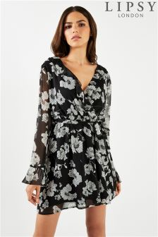 Lipsy Floral Printed Ruffle Wrap Dress