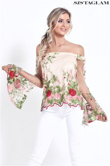 Sistaglam Embroidered Mesh Top