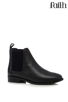 Faith Leather Chelsea Ankle Boots