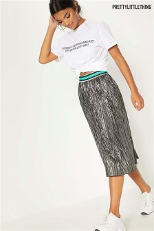 PrettyLittleThing Metallic Sport Stripe Band Pleated Skirt