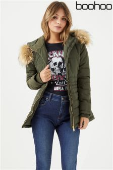 Boohoo Quilted Faux Fur Trim Jacket