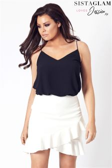 Sistaglam Loves Jessica Asymmetric Frill Short Skirt