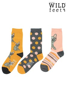 Wild Feet French Bulldog 3 Pairs of Socks