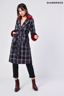 Glamorous Check Faux Fur Trim Coat