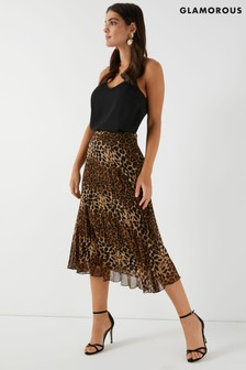 Glamorous Animal Print High Waisted Midi Skirt