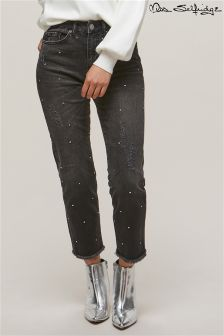 Miss Selfridge Mid Rise Diamanté Straight Leg Jeans