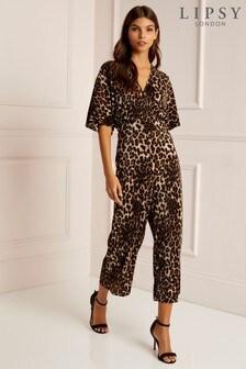 Lipsy Leopard Print Plisse Jumpsuit