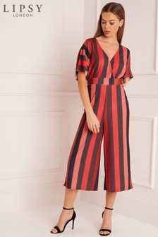 Lipsy Stripe Kimono Sleeve Culotte Jumpsuit