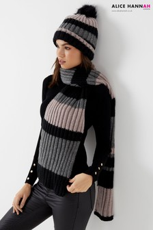 Alice Hannah Striped Knitted Scarf