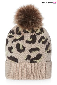 Alice Hannah Leopard Print Knitted Hat