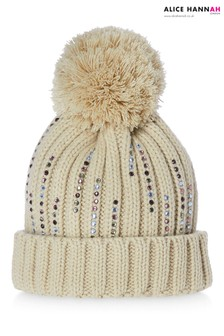 Alice Hannah Knitted Diamante Pom Hat