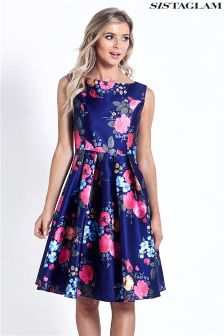 Sistagalm Floral Satin Prom Dress