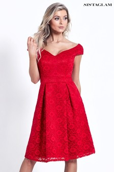 Sistaglam All Over Lace Bardot Dress