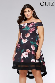Quiz Curve Floral Print Dip Hem Dress
