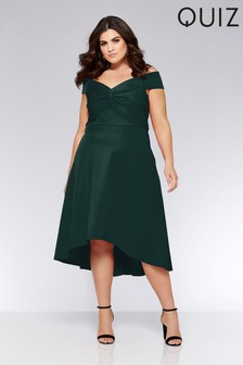 Quiz Curve Bardot Knot Front Dress