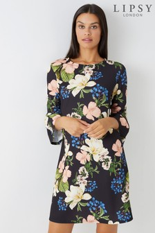 Lipsy Floral Flute Sleeve Shift Dress
