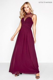 Little Mistress Pearl Detail Maxi Dress