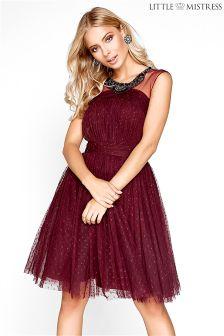Little Mistress Dotty Mesh Embellished Skater Dress