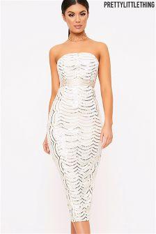 PrettyLittleThing Zeenia Premium Lace Bandeau Midi Dress