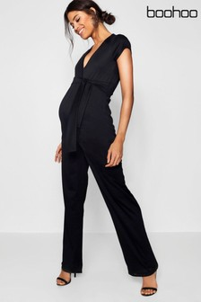 Boohoo Maternity Tie Front Jumpsuit