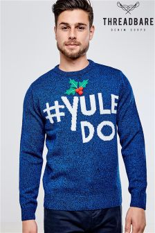 Threadbare Pom Pom & Appliqué Christmas Jumper
