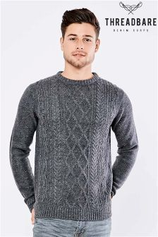 Threadbare Crew Neck Cable Jumper