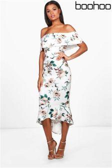 Boohoo Floral Bardot Frill Hem Midi Dress