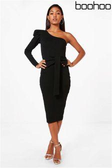 Boohoo One Shoulder Bow Waist Midi Dress