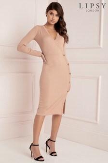 Lipsy Long Sleeve Horn Button Rib Midi Dress