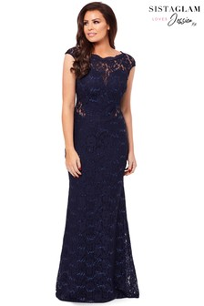 Sistaglam Loves Jessica Petite Eliora Sequin Lace Maxi Dress