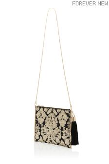 Forever New Megan Sequin Clutch With Tassel