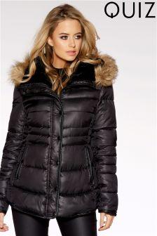 Quiz Padded Faux Fur Hood Jacket