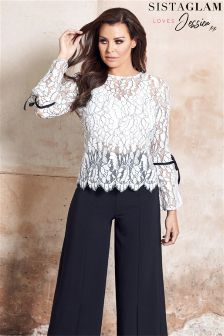 Sistaglam Loves Jessica Long Sleeve Lace Blouse