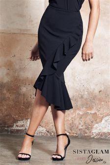 Sistaglam Loves Jessica Midi Wrap Frill Ruffle Skirt