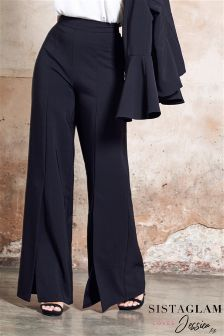 Sistaglam Loves Jessica Wide Leg Mid Split Tailored Trousers