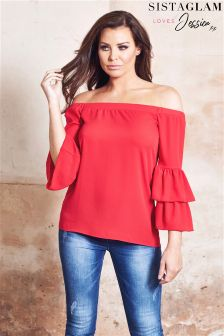 Sistaglam Loves Jessica Bardot Top Double Frill Sleeve