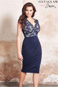 Sistaglam Loves Jessica Lace Top Midi Bodycon Dress