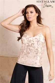 Sistaglam Loves Jessica Embellished Cami Strap Top