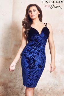 Sistaglam Loves Jessica Velvet Wrap Front Cami Strap Dress