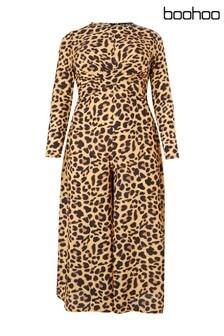 Boohoo Plus Leopard Wrap Front Culotte Jumpsuit