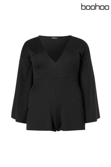 Boohoo Plus Kimono Sleeve V Neck Playsuit