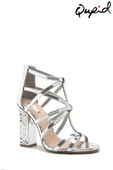 Qupid Clear Heel Cage Sandal