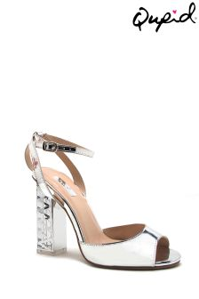 Qupid Clear Heel Single Strap Sandal