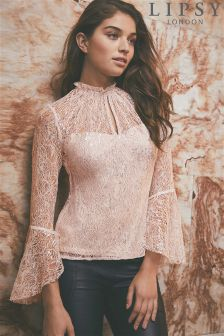 Lipsy Metallic Lace Flare Sleeve Top